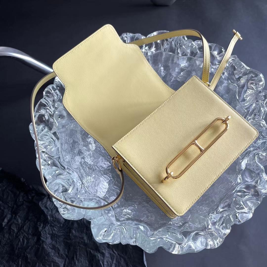 Hermès(爱马仕)Roulis 猪鼻包 1Z 小鸡黄 Swift皮 淡金扣 18cm