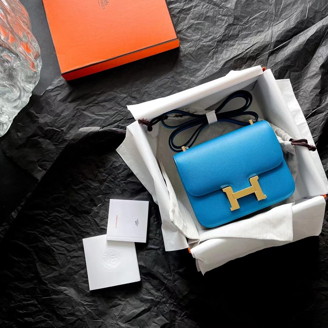 Hermès(爱马仕)Constance 康斯坦斯 小康 新色 佛罗里达蓝 0F Epsom皮 金扣 18cm