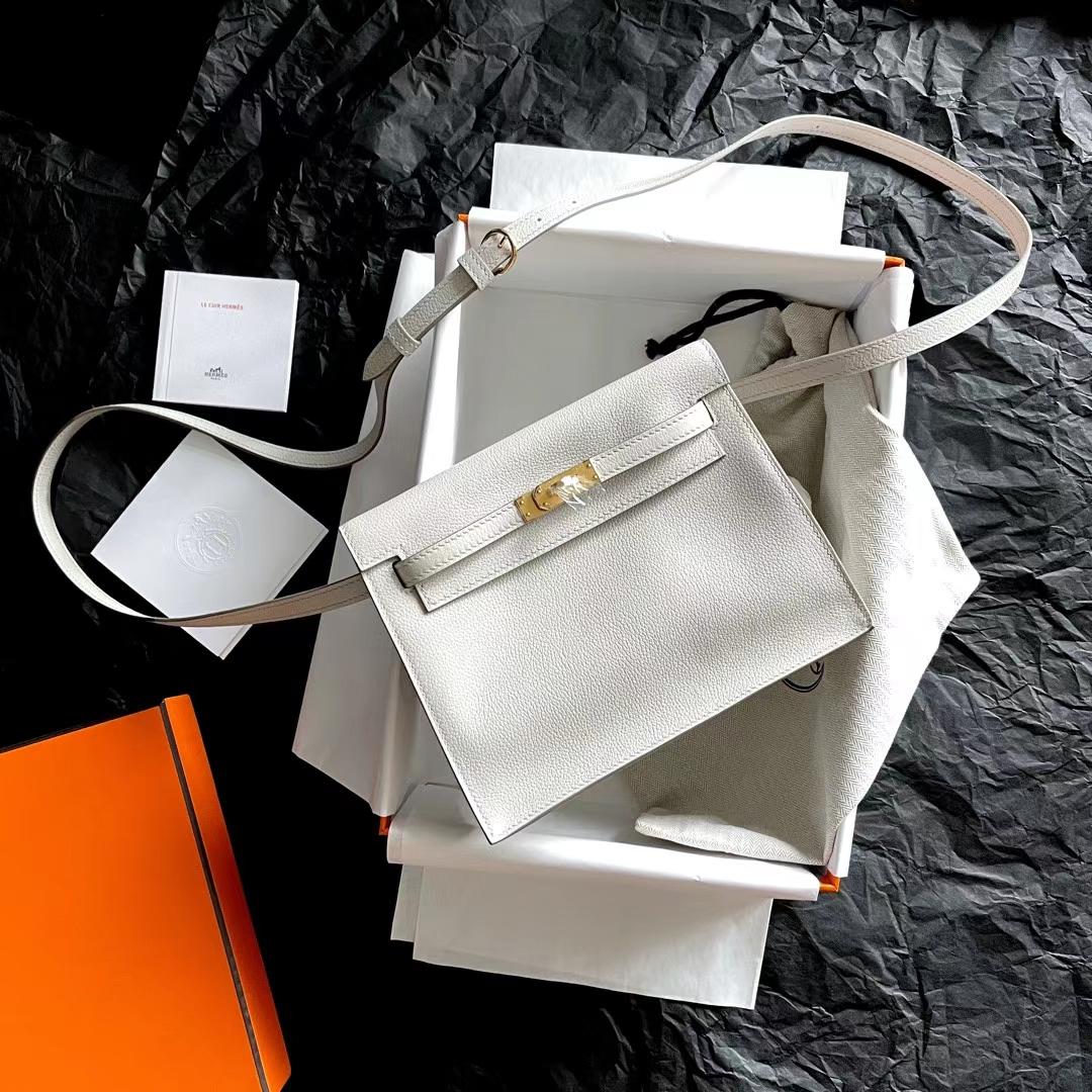 Hermès(爱马仕)Kelly Danse mini 珍珠灰 Cc80 Evercolor皮 全手缝