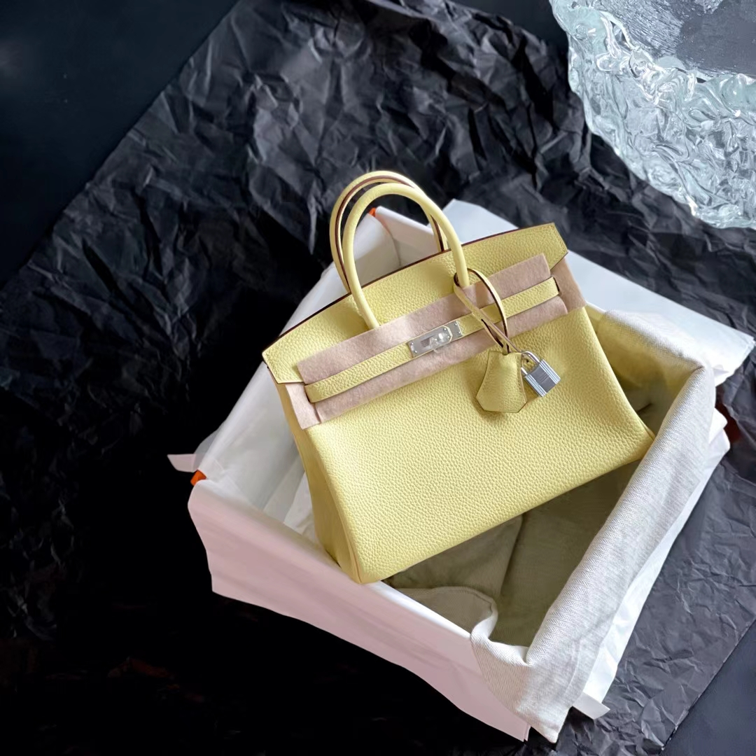 Hermès(爱马仕)Brink 铂金包 1Z 小鸡黄 原版小牛皮 银扣 25cm