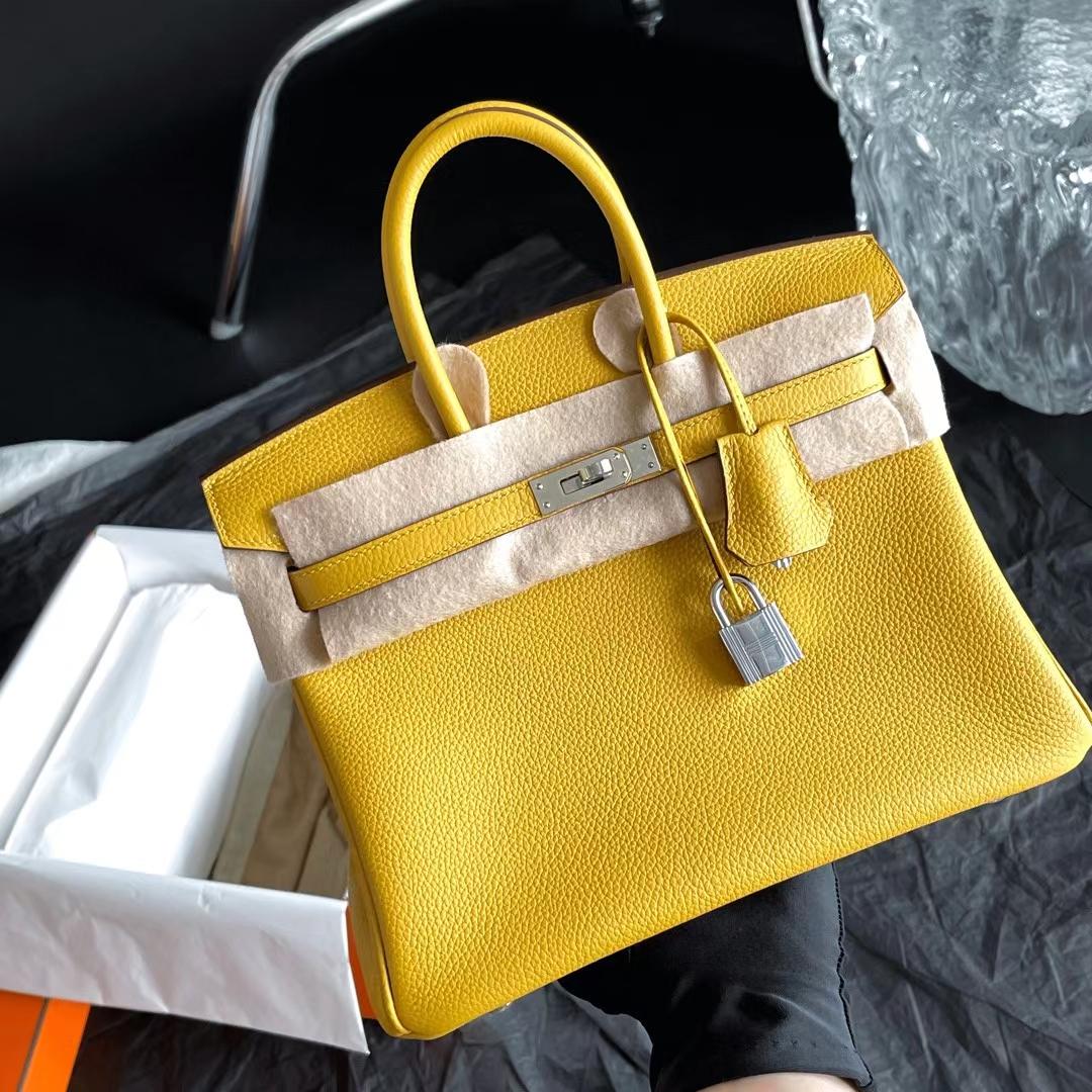 Hermès(爱马仕)Brink 铂金包 Togo皮 9D 琥珀黄 银扣 25cm 全手缝