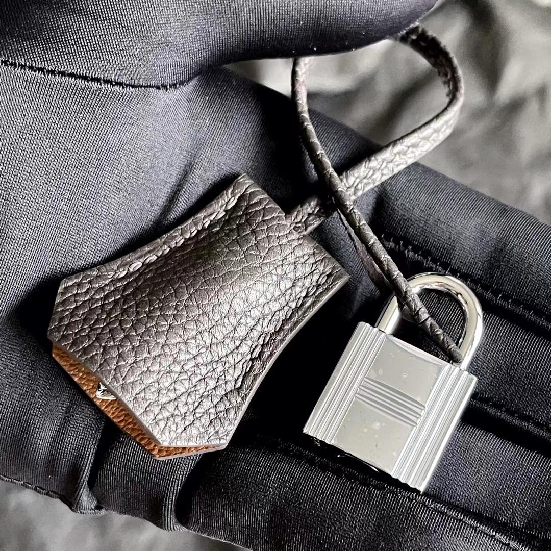 Hermès(爱马仕)Brink 铂金包 深巧克力 原版小牛皮 银扣 25cm